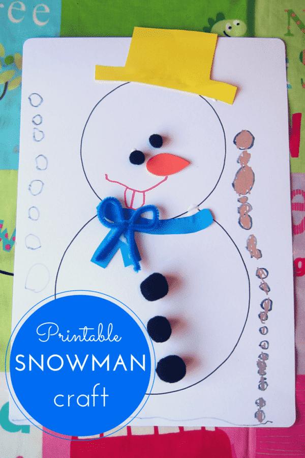 Hodge Podge / Printable snowman craft for kids